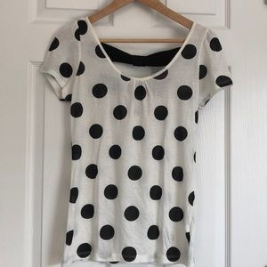 Cream and Black Polka Dot Shirt